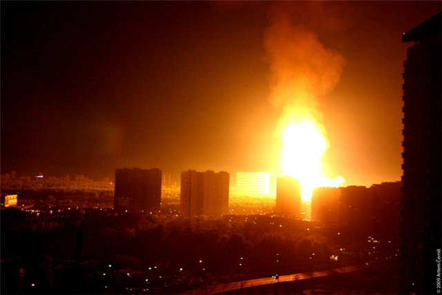 Фото взрыва газопровода глазами очевидцев. Москва, улица Озерная