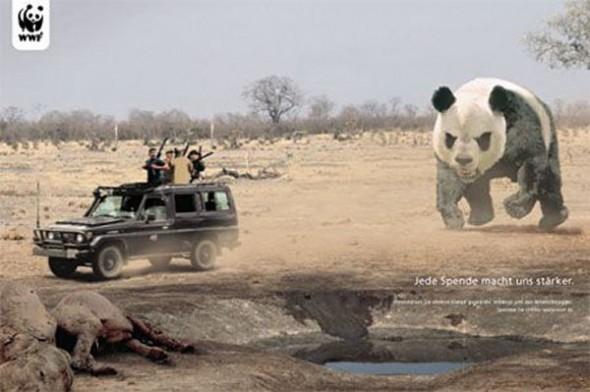 Фото дизайнера креативной рекламы. Панда против браконьерства