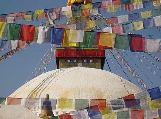 Флаги, вывешанные на честь Будды в Непале