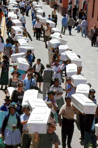 Люди несут гробы с погибшими во время безпорядков в Хуамаге, Перу, родственниками