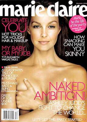 Обнаженная актриса Эшли Джадд наобложке журнала Marie Claire
