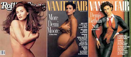 Вечно молодая актриса Деми Мур впервые появилась обнаженной на обложке журнала Vanity Fair, будучи беременной, а затем уже будучи настоящей профессионалкой в этом деле, позировала год спустя в 1992 году для Vanity Fair и в 1995 году - для журнала Rolling Stone