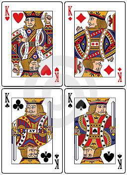 Каждый король на игральных картах представляет собой реального исторического короля: пики - Король Давид, трефы - Александр Великий, черви - Шарлемань, бубны - Юлия Цезаря