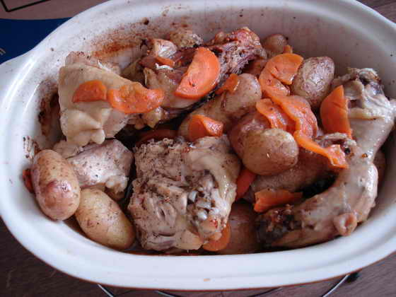 Курица гриль по-домашнему с овощами