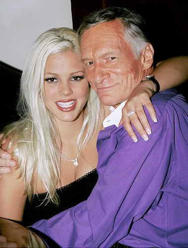 Стефани Хайнрич, первая кибердевушка месяца Playboy.com, с Хью Хефнером
