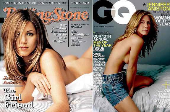 Дженнифер Энистон трижды появлялась обнаженной на обложках популярных журналов: в марте 1996 года - на обложке журнала Rolling Stone, в декабре 2005 - топлесс на обложке GQ