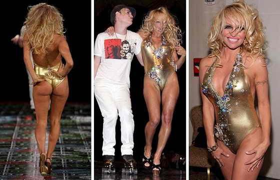 Памела Андерсон вышла на подиум в качестве модели показа дизайнера Richie Rich недавно в 2009 году, сам модельер выехал на подиум на роликовых коньках