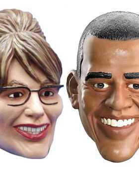 В США отлично продаются карикатурные маски политиков, особенно Барака Обамы и Сары Пэлин