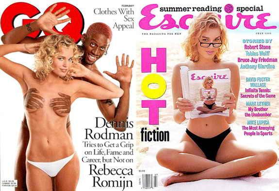 Супермодель и актриса Ребекка Ромин обнажилась для забавной обложки GQ вместе с Деннисом Родманом и для обложки Esquire