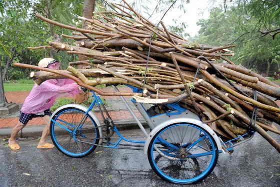Тайфун Ketsana вначале прошелся по Филиппинам, а затем спустя 3 дня ударил с сокрушительной силой по Вьетнаму: 22 человека погибли. На фото: вьетнамец толкает свою рикшу, наполненную деревянными палками - все, что ему удалось раздобыть под проливным дождем