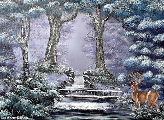 Картина оленя в окружении чудес зимы была написана безруким художником Питером Лонгстаффом с помощью правой ноги