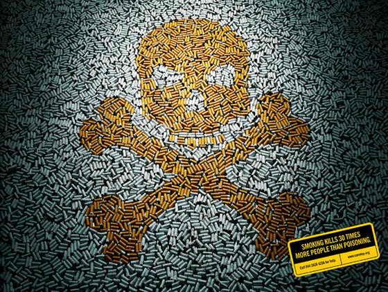 Фотограф Шарад Хаксар собрал тысячи окурков для пропаганды борьбы с курением. Он выложил ими изображение черепа и скрещенных костей, намекая на преждевременную смерть от курения