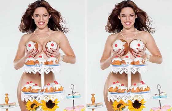 """Фотографии """"до"""" (слева) и """"после"""" актрисы Келли Брук в календаре """"Calendar Girls"""". Фотографам пришлось подкорректировать фотографию знаменитости, так как было решено, что булочки, покрывающие часть ее груди, оставляют слишком мало места для фантазии"""