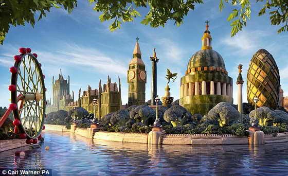 Съедобный Лондон: панорама Лондона была создана в целях оздоровления нации исключительно из полезных продуктов питания, включающих в основнов фрукты и овощи