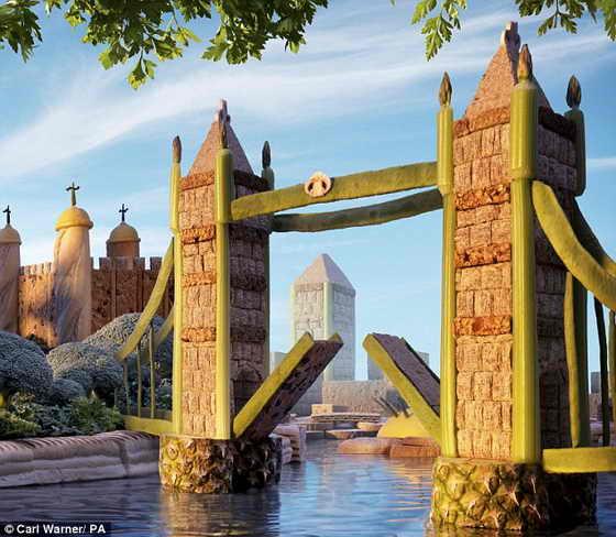 """Фруктовое перевоплощение: Тауэрский мост Лондона из фасоли, сельдерея, ананаса и """"Пшеничных жгутиков"""" (Shredded Wheat)"""