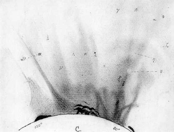 Схематическое изображение солнечного затмения, сделанное 12 декабря 1871 года. На рисунке, сделанном У.Х.Уэсли, ассистентом секретаря Королевского Астрономического Общества, видна Солнечная корона и солнечные протуберанцы (черные выступы)