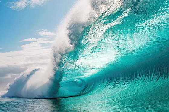 Смелый серфингист Кларк не боится океана, поэтому спокойно плывет в закручивание волны с непромокаемым фотоаппаратом