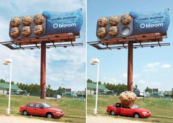 Для рекламы кексов Bloomberry супермаркет American Bloom использовал 3D маффины. При этом один Jumbo Muffin как бы упал на арендованный автомобиль, стоящий под биллбордом
