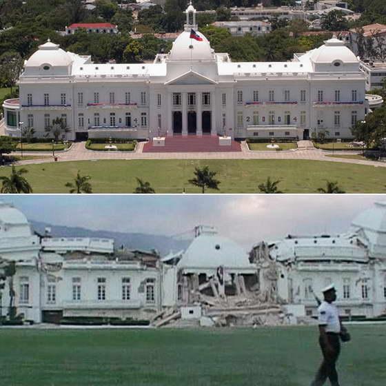 Фотография Президентского дворца на Гаити до и после землетрясения