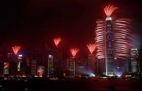 фейерверк в Гонконге