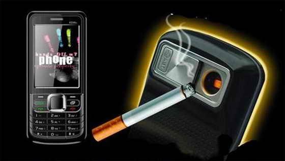 Зажигалка, встроенная в мобильный телефон