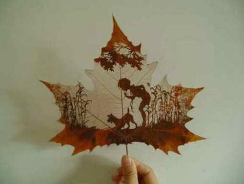 Из модулей оригами.  Выкройки игрушек кошек.  Рисунки на кленовых листьях, работа китайских мастеров.