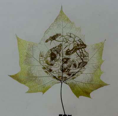 Листья платана достаточно плотные с тугими прожилками, что позволяет создавать рисунок не нарушая.