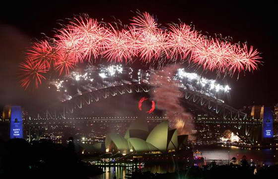фейерверк в Сиднее, Австралия