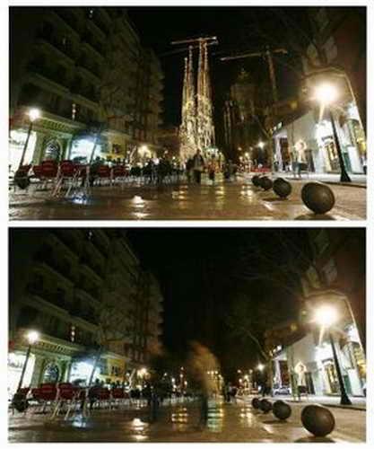 "До и после ""Часа Земли"", собор Антонио Гауди Sagrada Familia, Барселона"