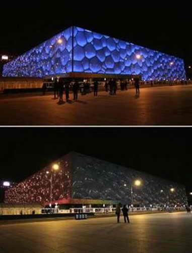 """""""Час Земли"""", Национальный центр водных видов спорта """"Водный куб"""", Пекин, Китай"""