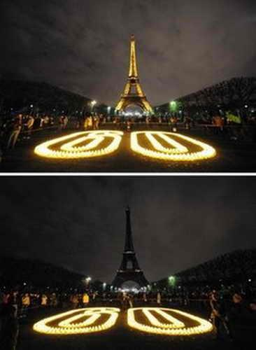 """""""Час Земли"""", Эйфелева башня, Париж"""