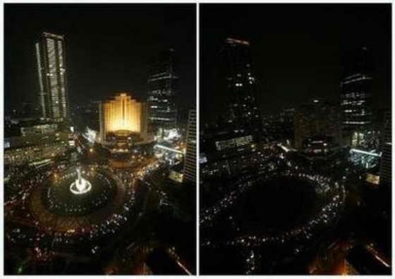 """""""Час Земли"""", фонтан """"Приветствующая статуя"""", Джакарта, Индонезия"""