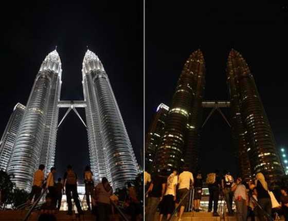 """До и после """"Часа Земли"""", Башни Петронас, Куала-Лумпур, Малайзия"""