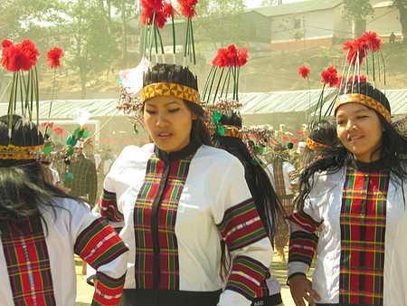 Наряд участников самого людного танца бамбука