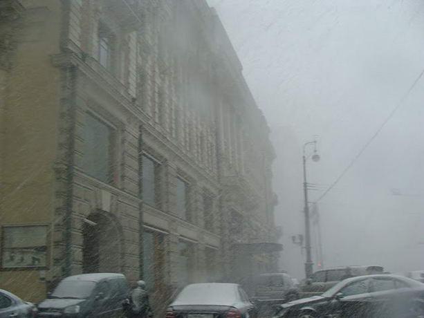 Снегопад Москва