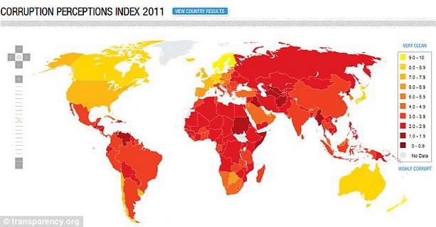 список самых коррумпированных стран в мире