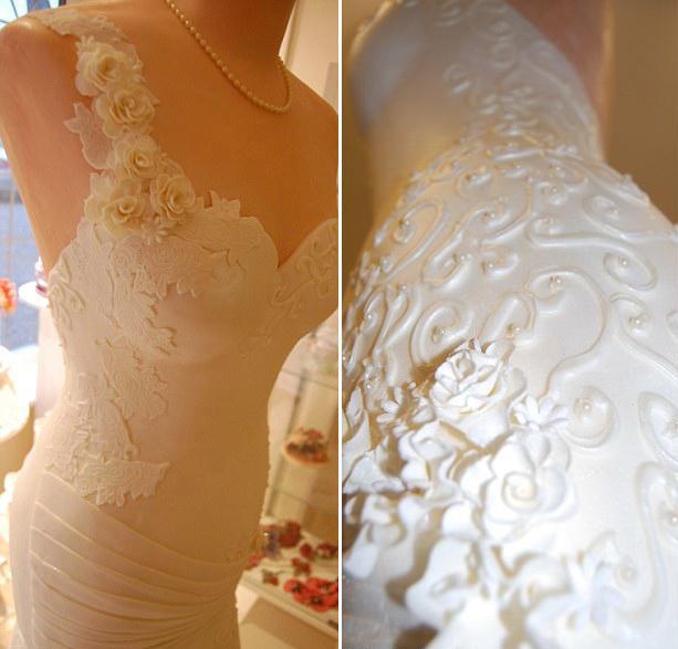 свадебный торт в виде свадебного платья
