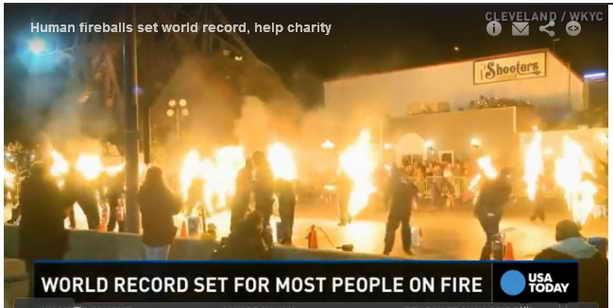 Книга рекордов Гиннеса 21 человек-факел