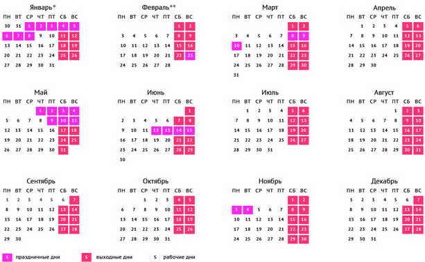 Производственный календарь 2014