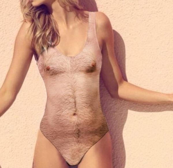 волосатый купальник Sexy Chest One Piece Swimsuit'