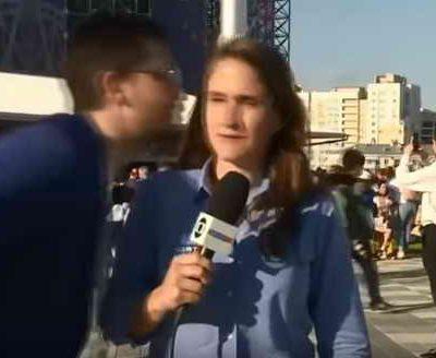 Тележурналистка во время прямого эфира подверглась сексуальному домогательству российского болельщика