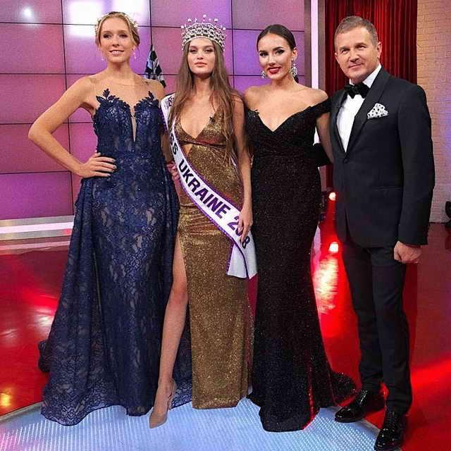 Мисс Украина 2018 Леонила Гузь с ведущими конкурса красоты