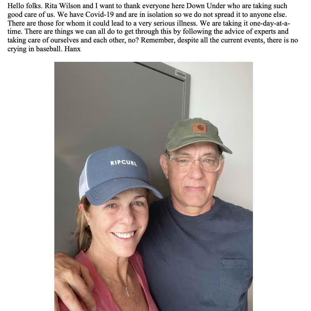 Том Хэнкс и его жена Рита Уилсон госпитализированы с коронавирусом