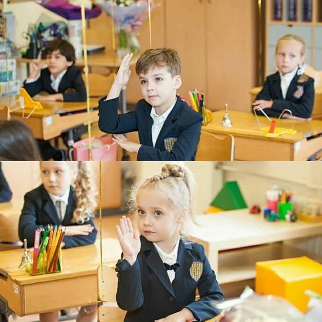 Лиза и Гарри пошли в 1 класс (дети Галкин и Пугачева)